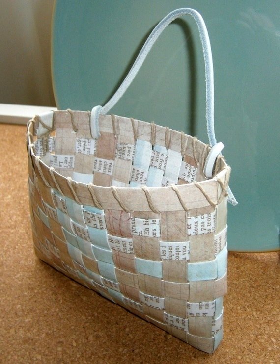 Handmade Basket Paper : Items similar to woven paper basket aqua tan patterned