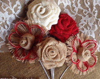Rustic Rose Burlap Bouquet - set of 5