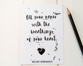 Wordsworth Quote Postcard - Literature Postcard Print for Book Lover - Blank Card - Bookish