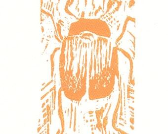 "Original Beetle Linocut Block Print Card -- ""Coleoptera I"" -- Signed by Artist"