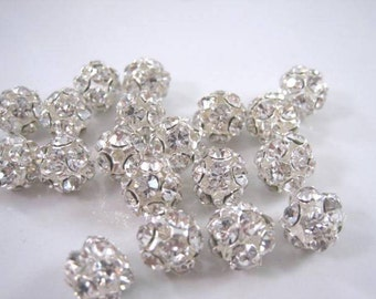 Rhinestone Ball beads, Swarovski Pave Crystal Ball, 8mm, 2pc