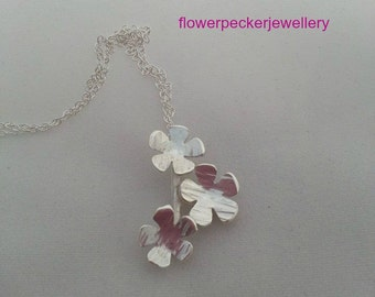 Forget Me Not Cluster Silver Necklace, Flower Jewellery Flower Silver Necklace