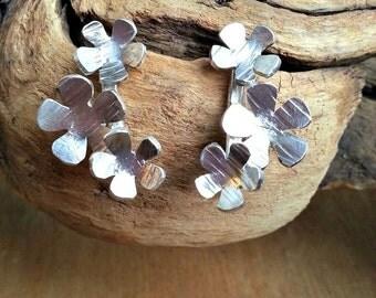 Flower Earrings Silver Nature Jewellery Flower Jewellery Sterling Silver Earrings