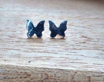 Butterfly Stud Earrings Sterling Silver Butterfly Silver Post Earrings Butterfly Post Earrings