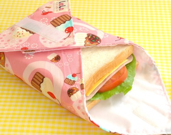 Sandwich Wrap, Reusable Fabric Lunch Wrap, Eco friendly Food Wrap, Cotton Sandwich Wrap,Reusable Lunch Place mat, Cupcake Print on Pink