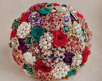 Brooch bouquet. Purple, Red, Emerald and Gold wedding brooch bouquet. Jeweled bouquet