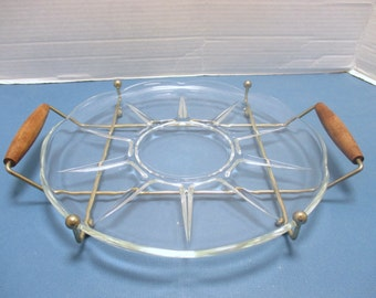 Round Glass Serving Tray with Brass and Teak Handled Carrier