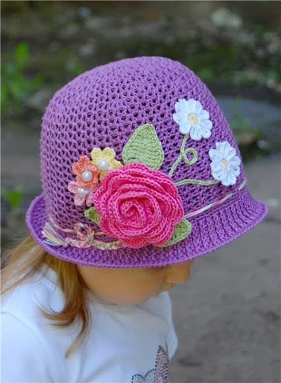 Free Crochet Pattern For A Panama Hat : PATTERN Flower Panama Hat by SpinsterJosFiberArts on Etsy