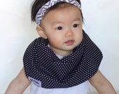 "Modern Bib (B/W Dots) All in One Scarf & Bib ""Scabib for babies or toddlers"