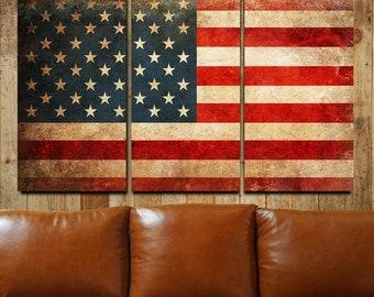 American Flag. American Flag Canvas. American Flag Wall Art. Giclee. Giclee Canvas. Fine Art Giclee. Canvas Art. Triptych. Canvas Print.