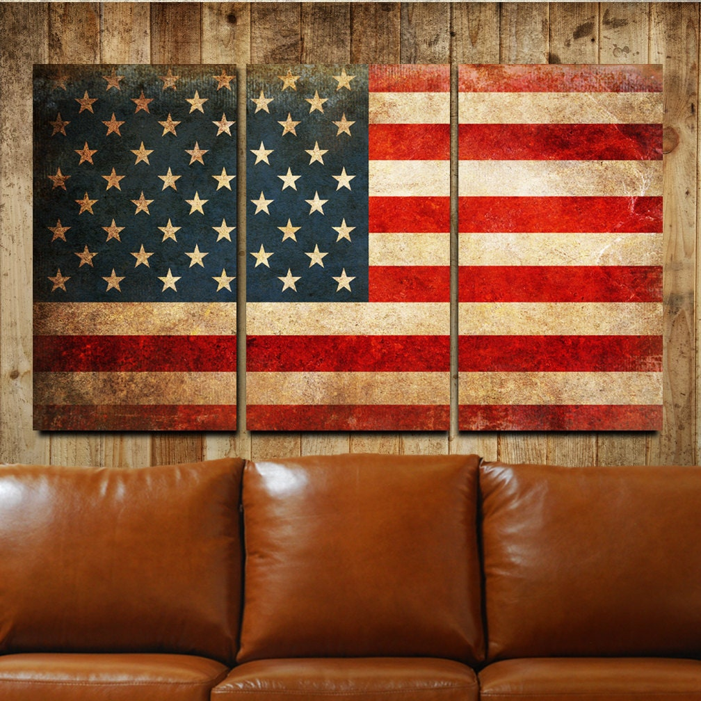 American Flag Rustic Canvas Gallery Wrapped Wall Art Triptych