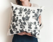 Mushroom pillow cover, watercolor painting on cushion