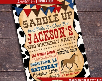 Printable Cowboy Party Invitation, Western Party Invitation, Cowboy Birthday Invitation, Horse Invitation, Wild West Party Invitation