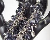 Fibromyalgia Lupus Alzheimers Crohns Cancer Awareness Charm Bracelet Purple Glass Crystal- Item Number 159
