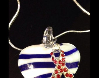 Red Ribbon - Glass Heart Pendant - HIV Aids Awareness - Heart disease - MADD / Heart Attack Gift / Heart Patient