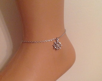 Sailer Charm Ankle Bracelet, Sailor Anklet, Summer Accessory, Charm Accessory,Birthday Gift, Silver Bracelet, Sea, Christmas Gifts