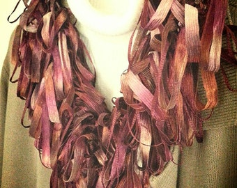 Loopy Scarf Boa in Burgundy and Bronze