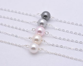 Set of 5 Floating Pearl Bracelets, 5 Bridesmaid Pearl Bracelets, Single Pearl 925 Sterling Silver Bracelets 0165