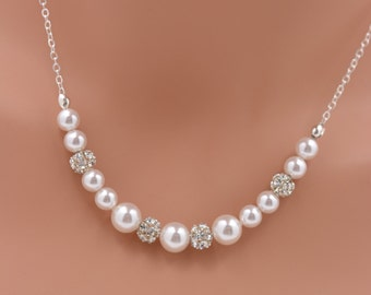 Pearl and Rhinestone Necklace - Sterling Silver, Pearl Bridal Necklace, Pearl and Crystal Wedding Necklace, Pearl Statement Necklace 0232