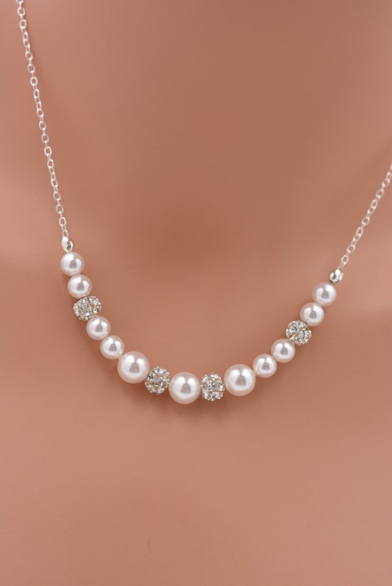 Pearl And Rhinestone Necklace Sterling Silver Pearl Bridal
