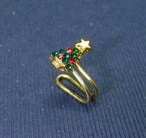 Tiny Christmas tree w/color crystal charm Ear Cuff Nose cuff