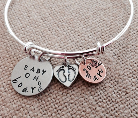 Pregnant Woman Gift Bracelet Expecting Mom Hand Stamped