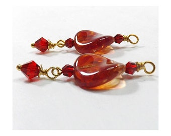 Red Round Givre Twist Charms, Bead Dangles, Crystal Accent Beads, 1 Pair