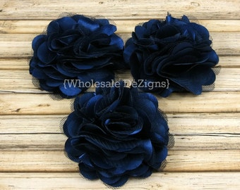 """Navy Blue Satin and Tulle Ruffled Flower - Solid Colored - 3"""""""