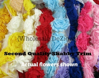 Not So Shabby Trim Flowers? Second Quality Shabby Trim by the Yard - Vintage Wholesale Discounted Rosette Flowers - Solids & Prints Grab Bag
