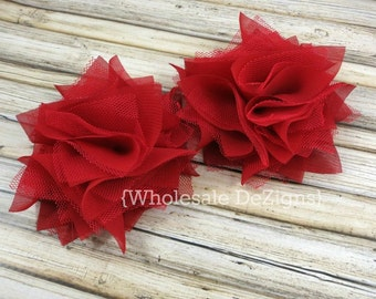 """Red Satin & Tulle Flowers 4"""" - Layered Rosette Large Flowers 4 inches"""