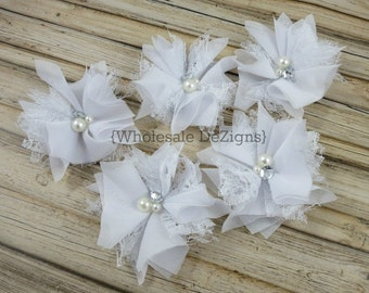 """White Chiffon and Lace Flowers - 3 inch - Pearl and Rhinestone Center - 3"""""""