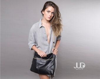 Black leather bag - soft leather purse SALE leather shoulder bag crossbody bag women messenger bag leather purse large clutch