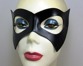 Batgirl leather mask. bat girl mask in  black with adjustable cord. Batman and Robin style ms marvel