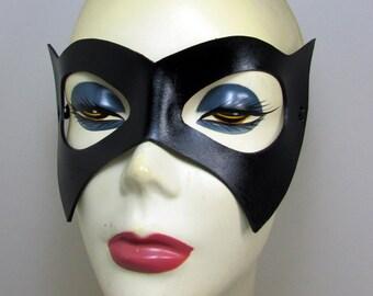 Batgirl leathermask. bat girl mask in  black with adjustable cord. Batman and Robin style ms marvel