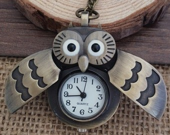 1pcs 20mmx30mm Bronze Owl  pocket watch charms pendant PP09