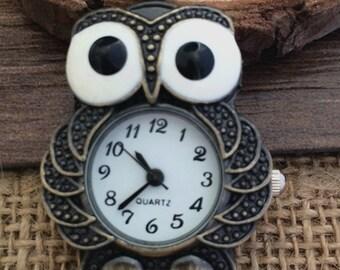 1pcs 28mmx39mm Bronze Owl pocket watch charms pendant PW035