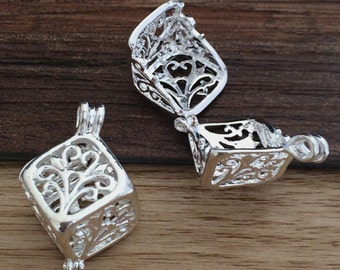 4pcs 13x13x13mm Silver Square  Locket   wish box charms pendant