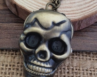 25mmx40mm Bronze color Skull pocket watch charms pendant