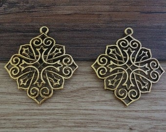8pcs 45 x 40mm Flower Charm   -  Antique gold charm pendant  Jewelry Findings