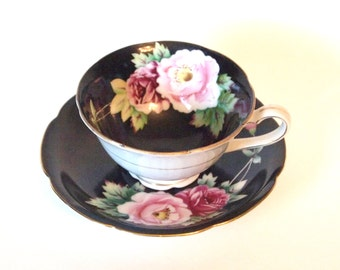 Vintage China Teacup Black Occupied Japan Tea cup Hand Painted with Pink and Purple Roses Regina China Circa 1950's