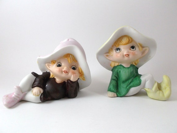 Items Similar To Vintage Figurines Leprechaun Fairies
