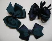 Petite Little 3 inch TRIO Set Navy and Forest Hunter Green Toddler Girl Hair Bows School PreSchool Uniform
