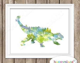 Watercolor Dinosaur Art Print with Choices of Silhouette in Printed Texture. Ankylosaurus Dino Wall Art Poster Suit Dinosaur Bedroom Decor