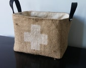 Large Burlap basket with swiss cross design & black leather handles