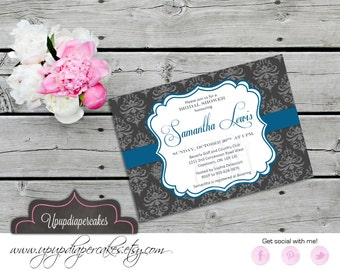 Modern Bridal Shower Invitation--Charcoal Grey & Mediterranean Blue--Damask--Digital Invite--Baby Shower, Birthday, Anniversary--Printable