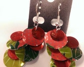 Fun & Fruity, Lightweight, Green and Red Soda Can Chandelier Earrings
