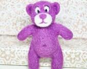 Needle felted fridge magnet or brooch, bear, purple