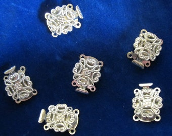 6 pcs vintage filigree box clasps, silver coloured 2 strand clasp, UNUSED; wedding jewelry supply for necklace or bracelet