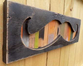 Large Wooden MUSTACHE Sign - Rustic Distressed Wood Cabin Sign Reverse Shadow Box