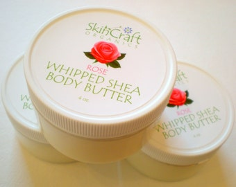 Natural Rose Body Butter - Rose Body Cream - Moisturizing Body Lotion / Organic Shea Butter - Jojoba - Coconut  / Vegan - 4 oz
